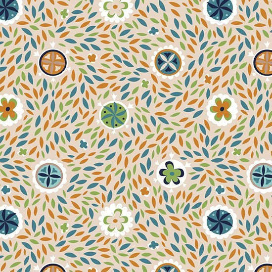 Swirling leaves pattern in retro colours by Katy Bloss.