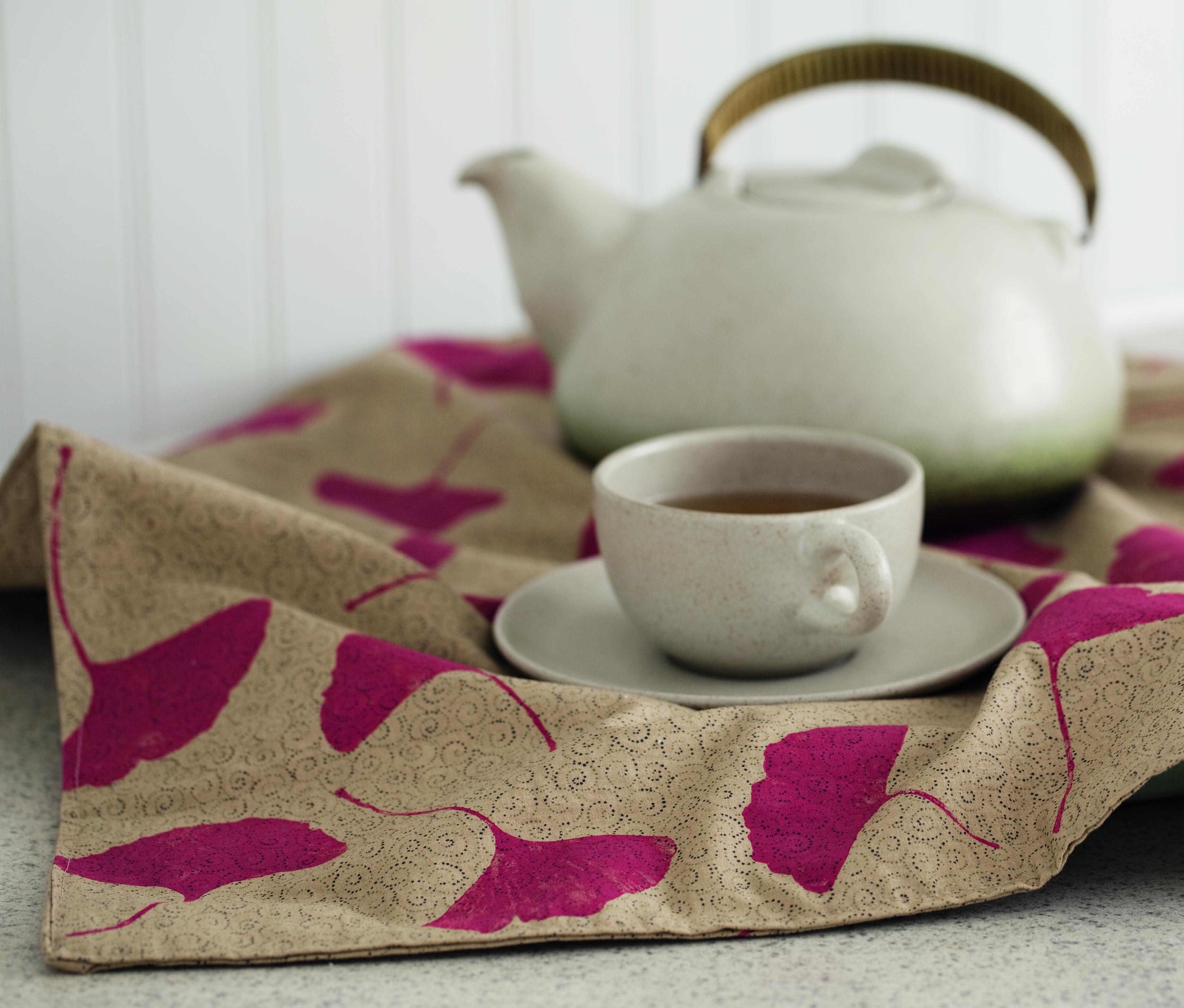119_ Teapot Wrap, textile paint, nature printed gingko leaves on fabric - (c) Adam Mastoon