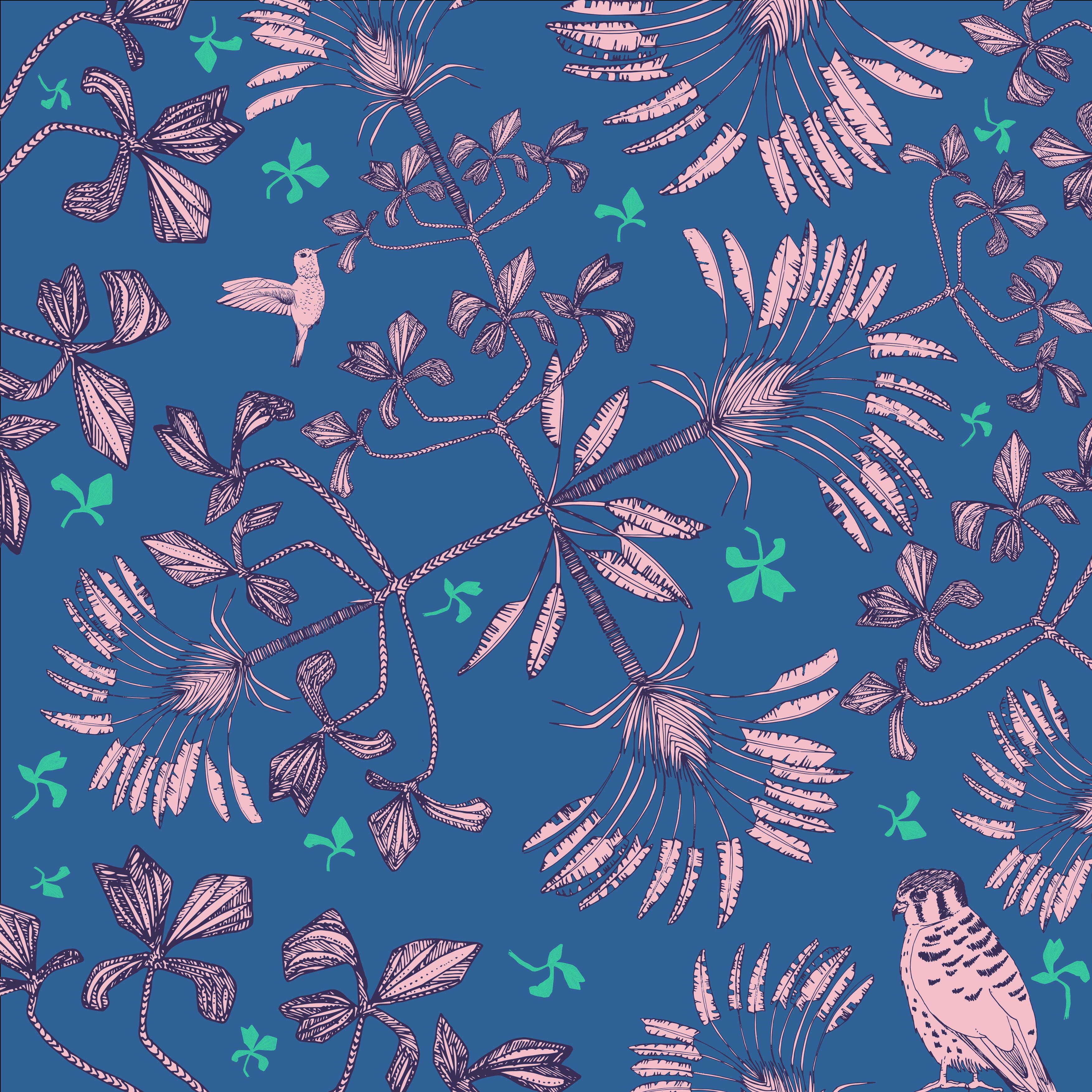 tree and bird concept V7 (pink fill aqua shapes)