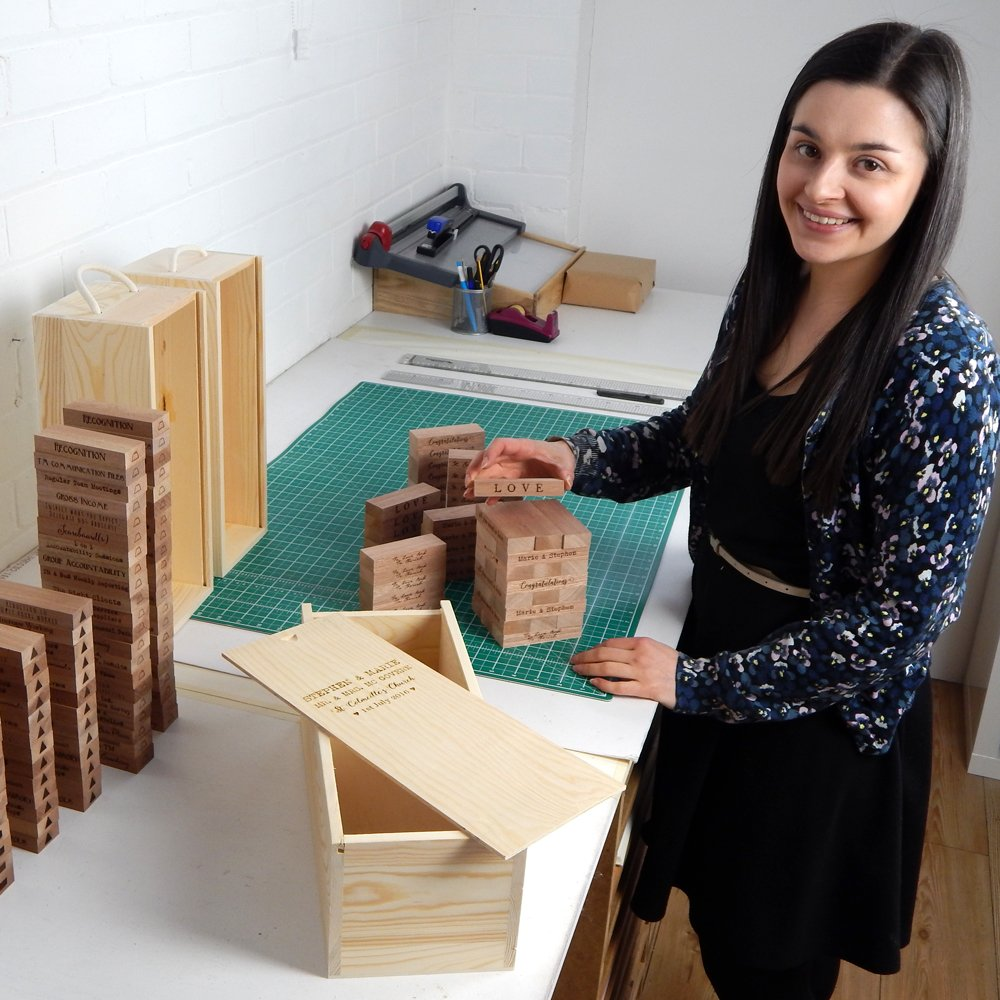 Constructing engraved jenga sets for Suzanne Oddy Design Limited