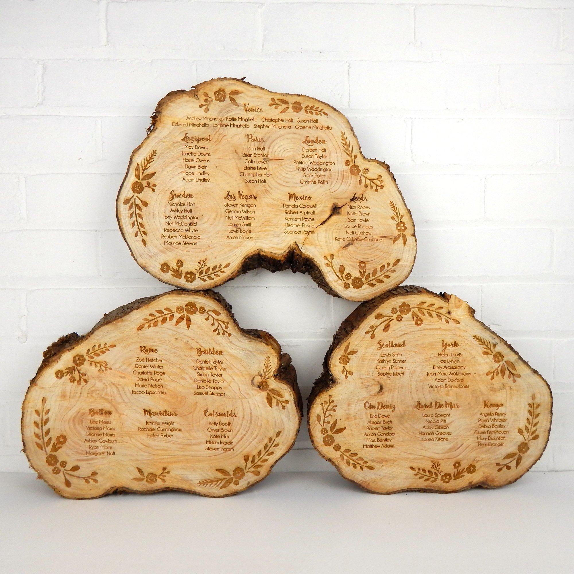 Engraved log slice table plan