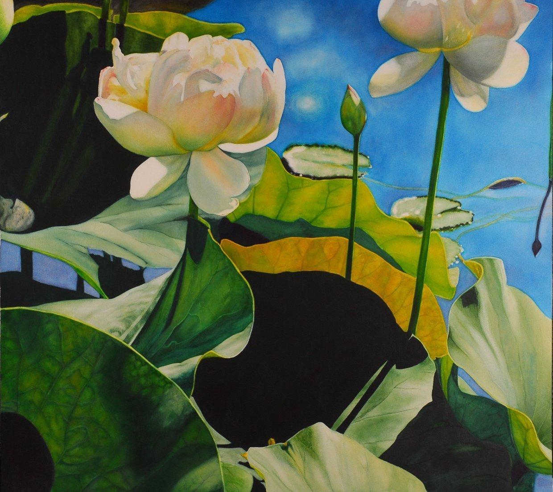 "LauraBethmann_Beauty Passing Through-Lotus_Watercolor_30""x32"""