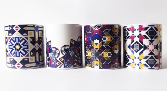 MOROCCO  mugs row of 4