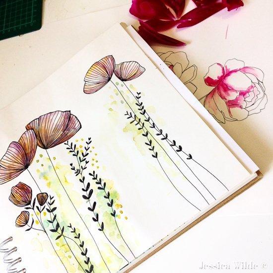 Sketchbook Floral-Jessica Wilde Design ©