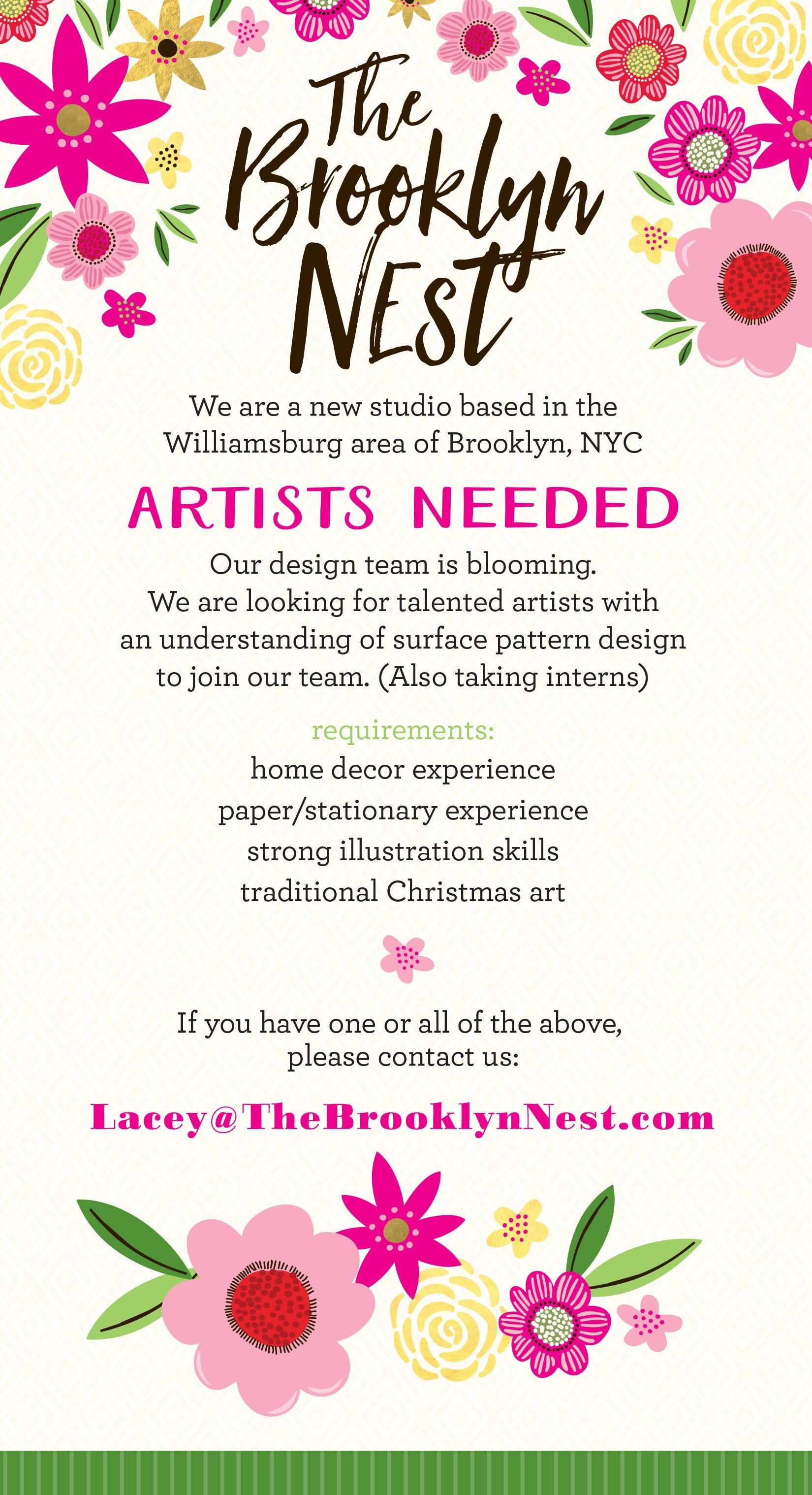 The brooklyn nest artists needed make it in design tbn ad kristyandbryce Image collections